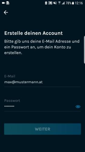 Schritt 1.6: Email und Passwort