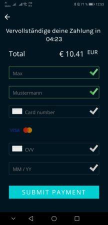 Schritt 3.4: Kreditkartendaten eingeben und fertig