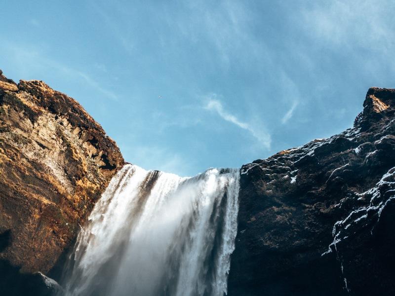 Island Skogafoss Wasserfall oben